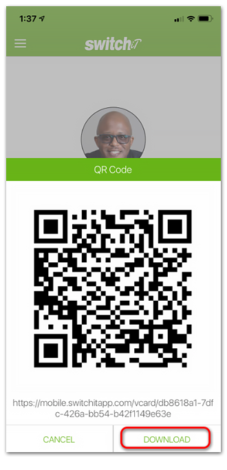 Use a QR Code to share your digital business card with Switchit